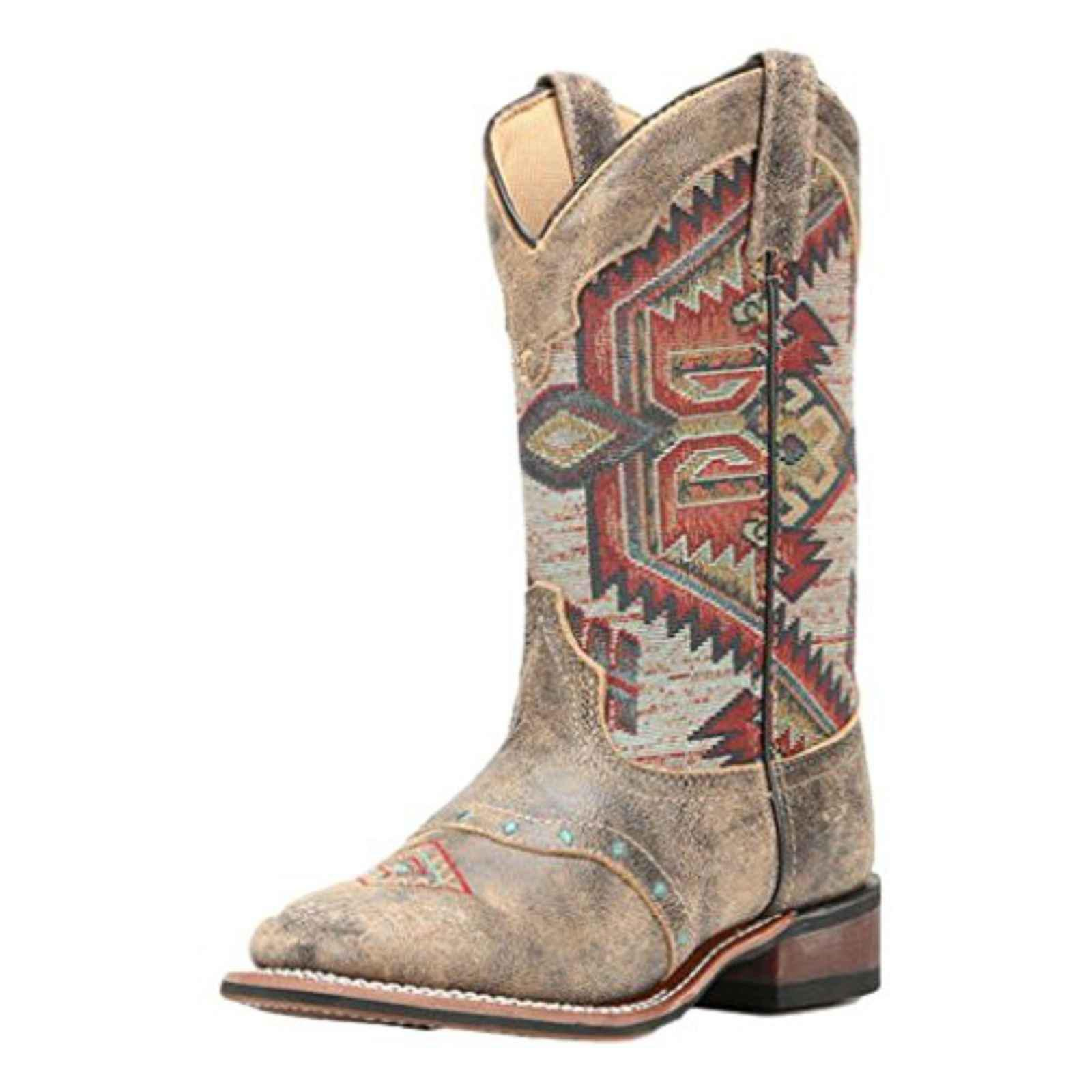 Laredo Women's Taupe With Aztec Top Boot Square Toe Taupe 8 M