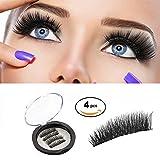 Magnetic Eyelashes 3D Reusable Fake Dual Magnet Eyelashes, Ultra Thin No Glue 0.2mm False Lashes Natural Looking and Handmade (1Pair 4Pcs)