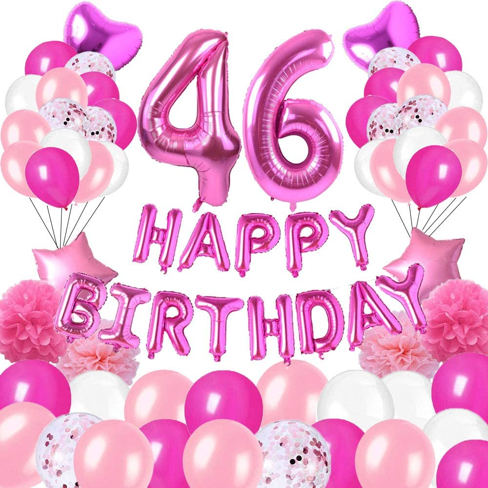colorpartyland Happy 46th Birthday Party Decorations Pink Latex,Rose Red Latex and Sequin Balloons Happy Birthday Banner Foil Number Balloons and More for 46 Years Old Birthday Party Supplies