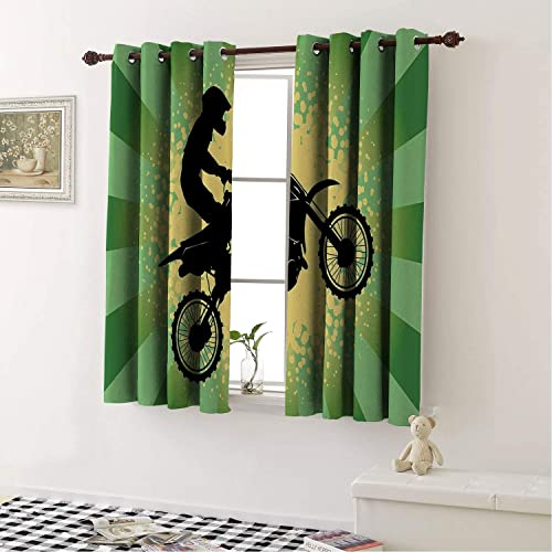 Mozenou Home Decoration Blackout Curtains Dirt Bike Starburst Stripes and Halftone Style Dots Background Rider Pale Green Black Pale Yellow Curtains Drapes for Bedroom 55 by 63 in