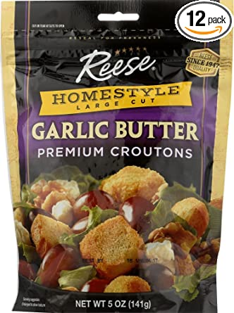 Amazon Com Reese Homestyle Garlic Butter Croutons 5 Ounces Pack Of 12 Salad Croutons Grocery Gourmet Food
