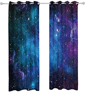 Riyidecor Outer Space Blackout Curtains Galaxy (2 Panels 29 x 63 Inch) Universe Blue Black Psychedelic Planet Nebula Starry Sky Living Room Bedroom Window Drapes Treatment Fabric
