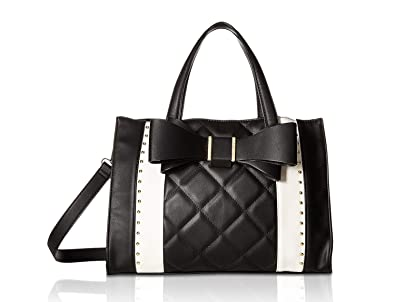 18c9fa48772f Amazon.com  Betsey Johnson Women s Quilted Bow Satchel Black Cream ...