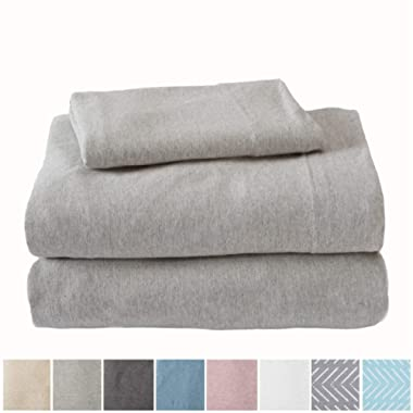 Great Bay Home Extra Soft Heather Jersey Knit (T-Shirt) Cotton Sheet Set. Soft, Comfortable, Cozy All-Season Bed Sheets. Carmen Collection Brand. (King, Light Grey)