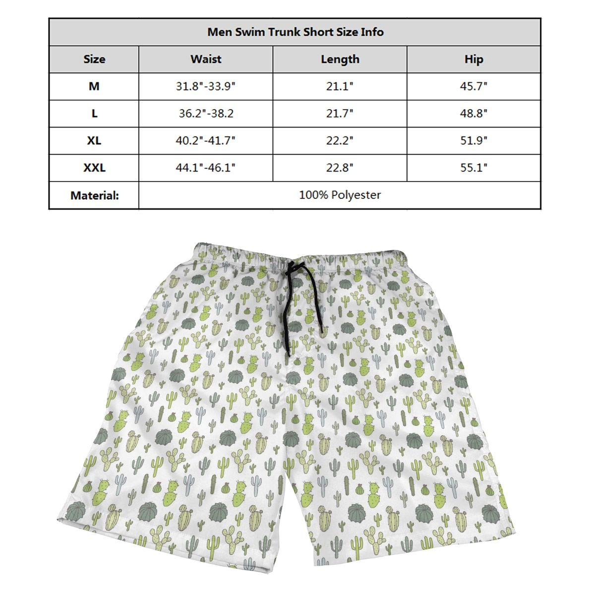 Ling Lake Cacti Mens Beach Shorts Board Shorts Summer Swim Trunks