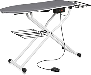 Reliable The Board 500VB Home Vacuum and Up-Air Pressing Table Ironing Board, Height Adjustable, Quick-Dry Textured Polyester Cover, Laundry Rack, Tube Frame Construction, Heated Surface, Quick Fold
