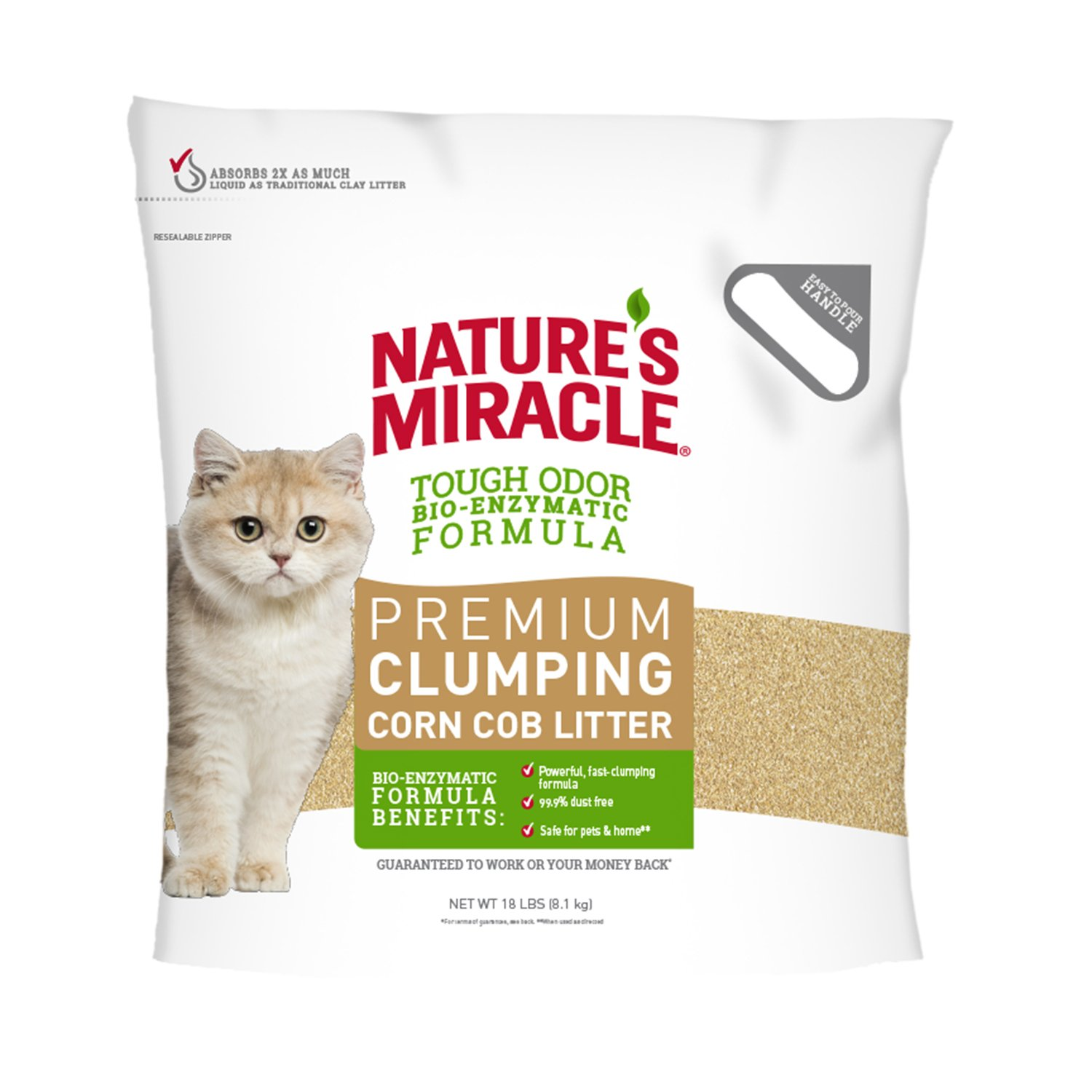 Nature's Miracle Premium Clumping Corn Cob Litter, 18 lb