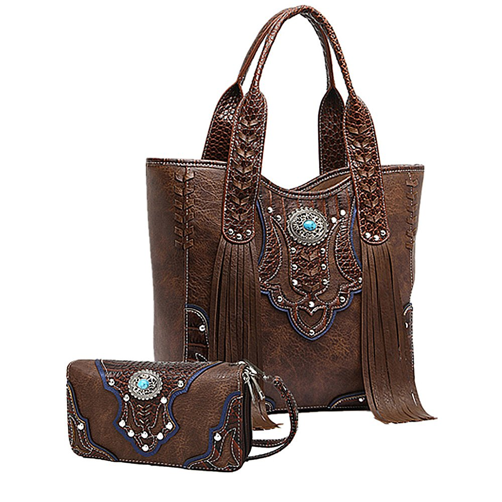 La Dearchuu Western Handbags with Fringe and Western Tote Purse with Wallet Set