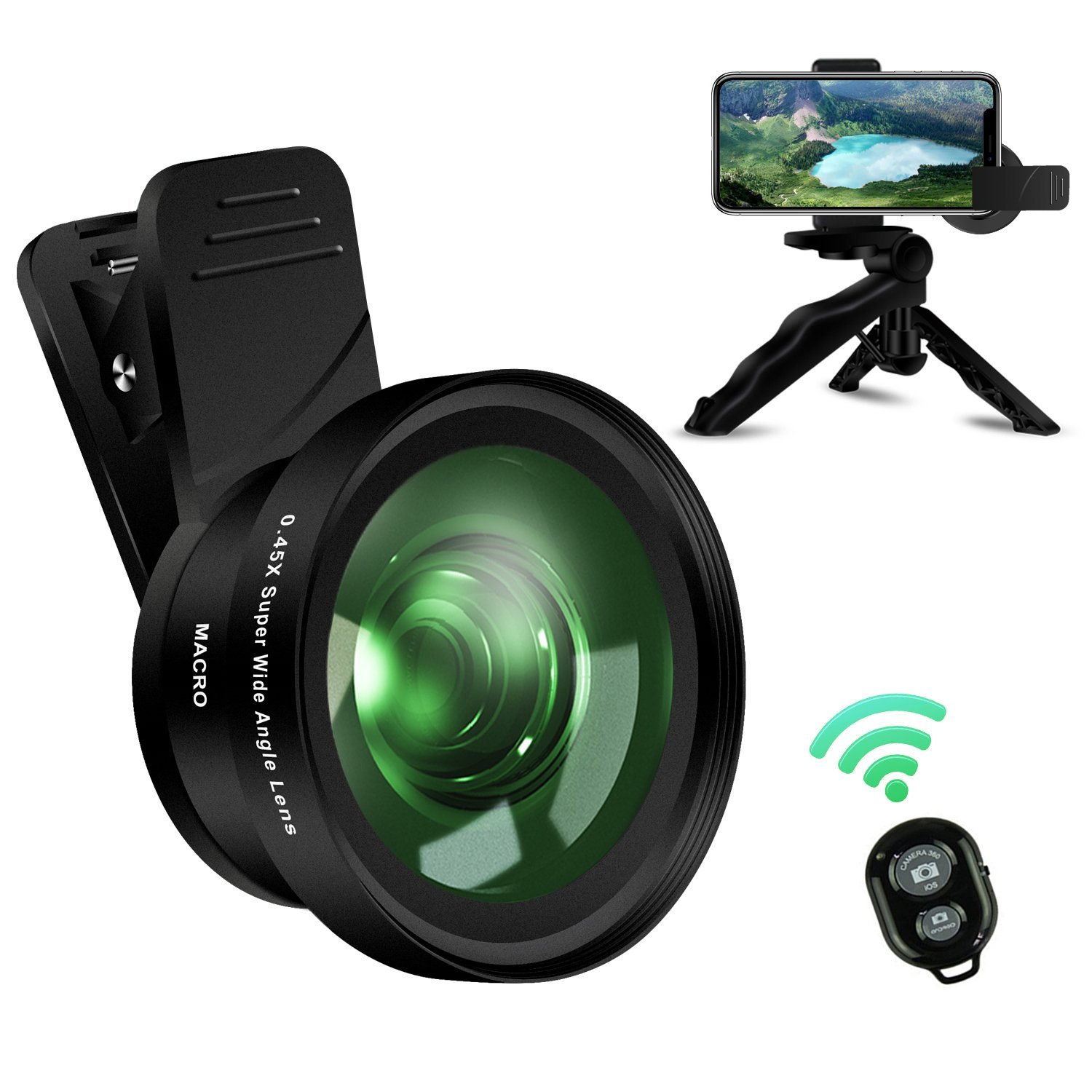iPhone Camera Lens Kit,ANGFLY Cell Phone Camera Lens 0.45X Wide Angle lens + 15X Macro Lens with Remote Shutter Multi-use Tripod & Phone Holder and Universal Clip,for iPhone,Samgsung,GoPro