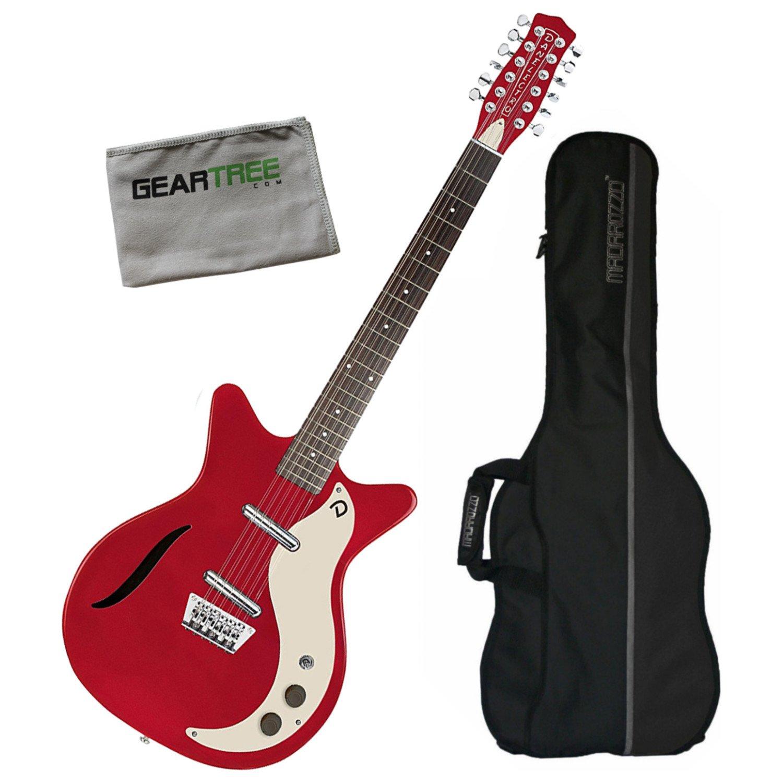 Danelectro 59 Vintage Semi hueca de 12 cuerdas para guitarra eléctrica w/de color rojo Funda de y gamuza de geartree: Amazon.es: Instrumentos musicales