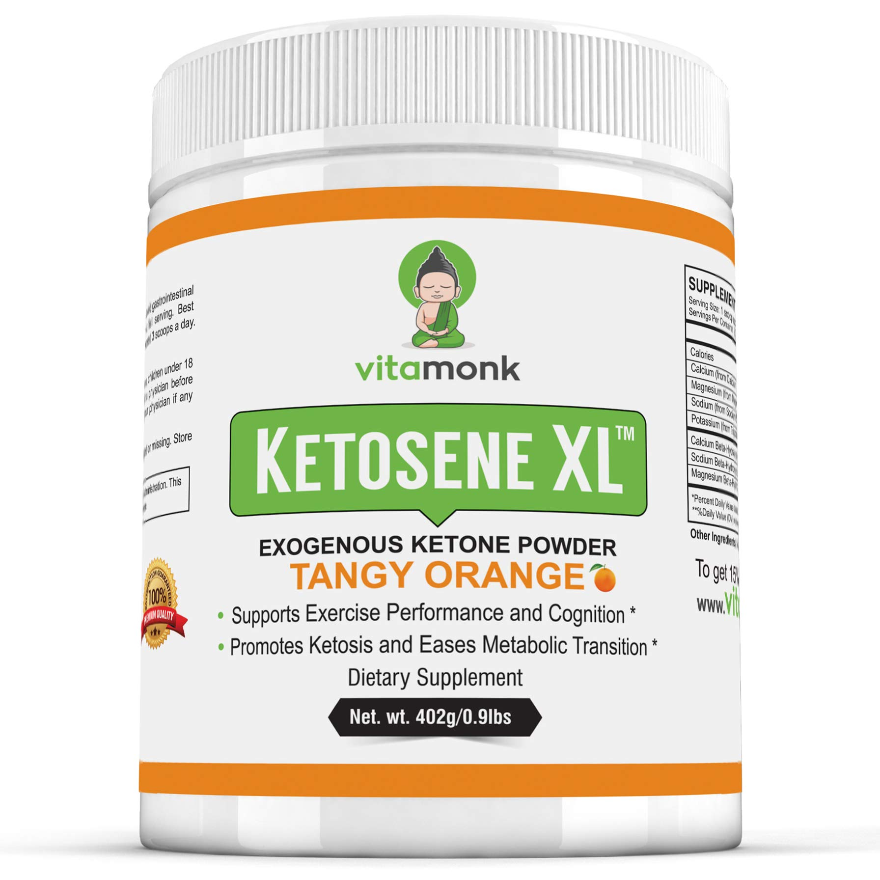 Ketosene XLTM 30 Servings Extra Large Exogenous Ketones Powder - Kickstart Ketosis Within 1-Hour with a Pure Blend of Calcium and Magnesium Ketone BHB Salts (KetoVantage BHB) - for Keto Diet Bulk by VitaMonk
