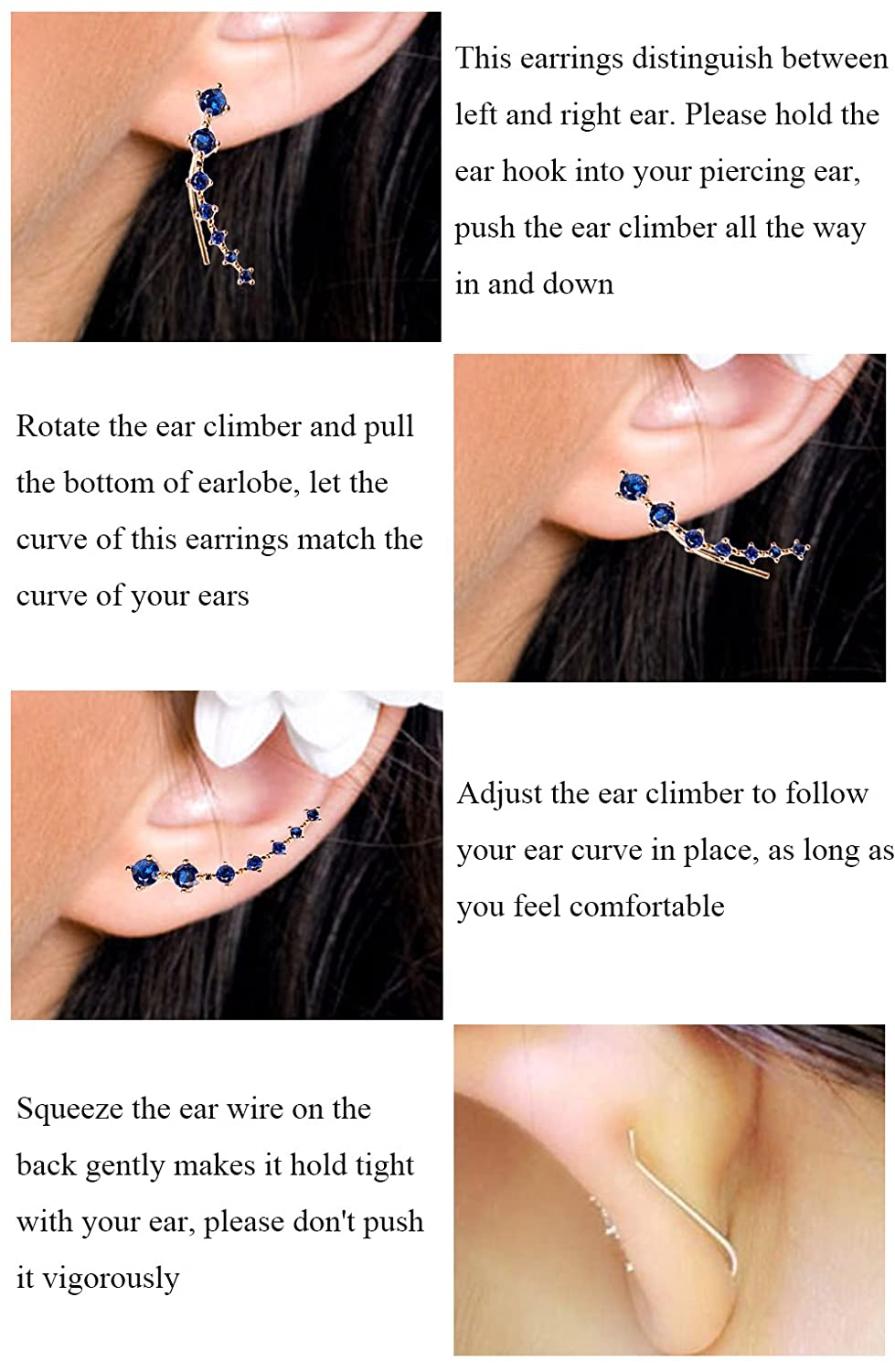 Women Sweep Up Hoop Ear Cuff Pin Vine Wrap Studs Earrings 7 Stars Cubic Zirconia Crystal Clip On Stud Jewelry with Fish Hook Fashion Stainless Steel CZ Ear Crawlers Climbers Ear Crawler Earrings