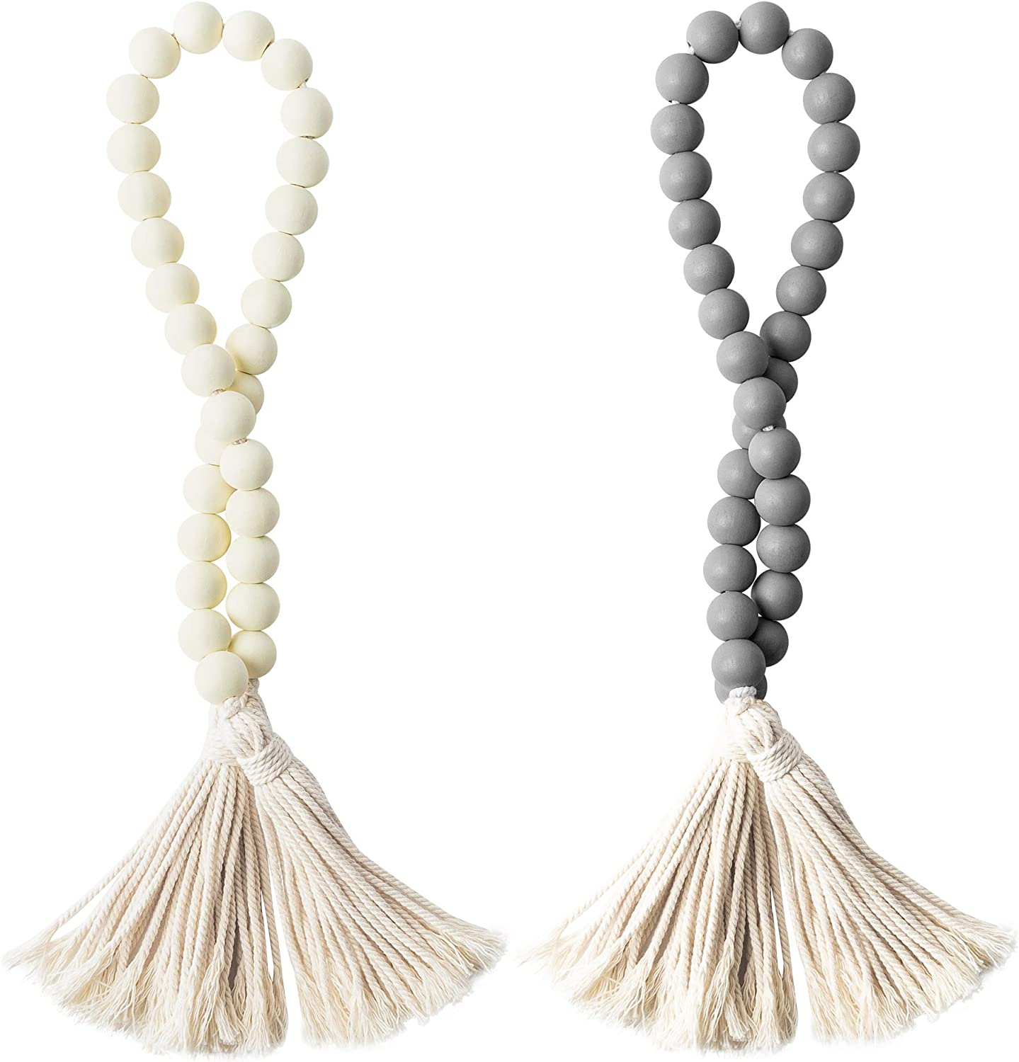 2 Pcs Classic Wood Beads Tassel, 27 Inch White & Gray Wood Bead Garland Farmhouse Rustic Beads with Jute Rope Plaid Tassel Natural Wood Beads for Home Décor