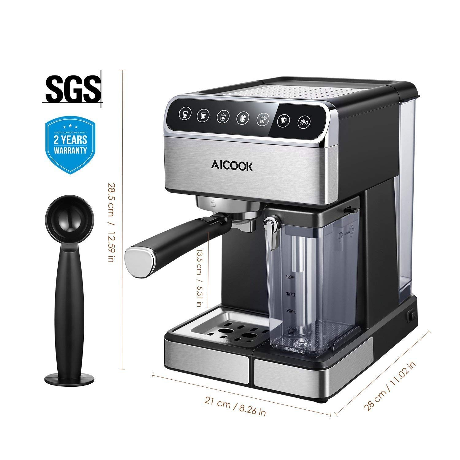 Aicook Espresso Machine, Barista Espresso Coffee Maker with One Touch Digital Screen, 15 Bar Pump and Automatic Milk Frother, Cappuccino Maker, Latte maker by AICOOK (Image #6)