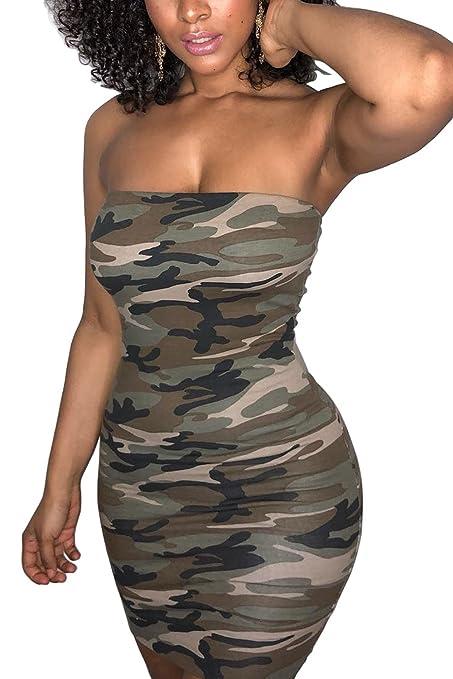 Review Nimpansa Women Club Dress Tube Strapless Camo Mini Short Bodycon Dresses
