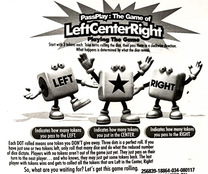 Amazon.com: PassPlay: The Game of Left Center Right Dice Game (Pack of 2 LCR Travel Games): Toys & Games