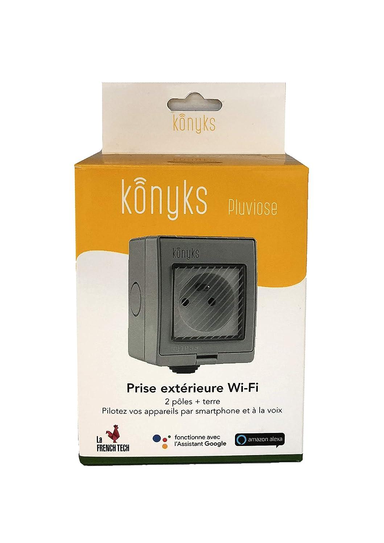 Keine Hub erforderlich Au/ßensteckdose WiFi 16 A Konyks Pluviose kompatibel mit Google Home und  Alexa