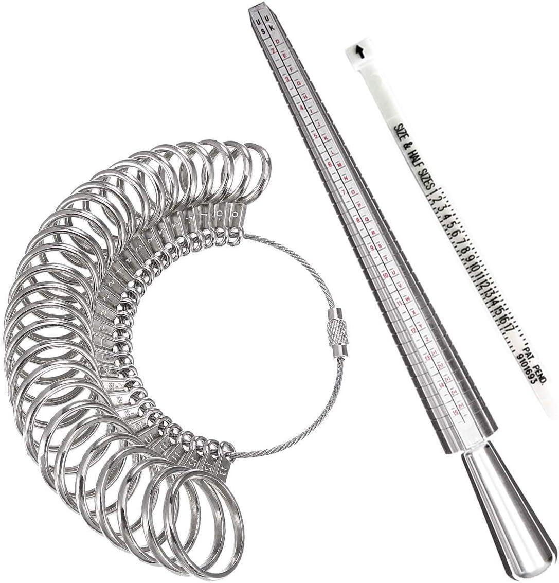 Ring Sizer Set Metal Mandrel Gauge Finger Size Measure Rings Sizing Measurement Tool Jewelry Making Tools Jewelers Loop US 0-13