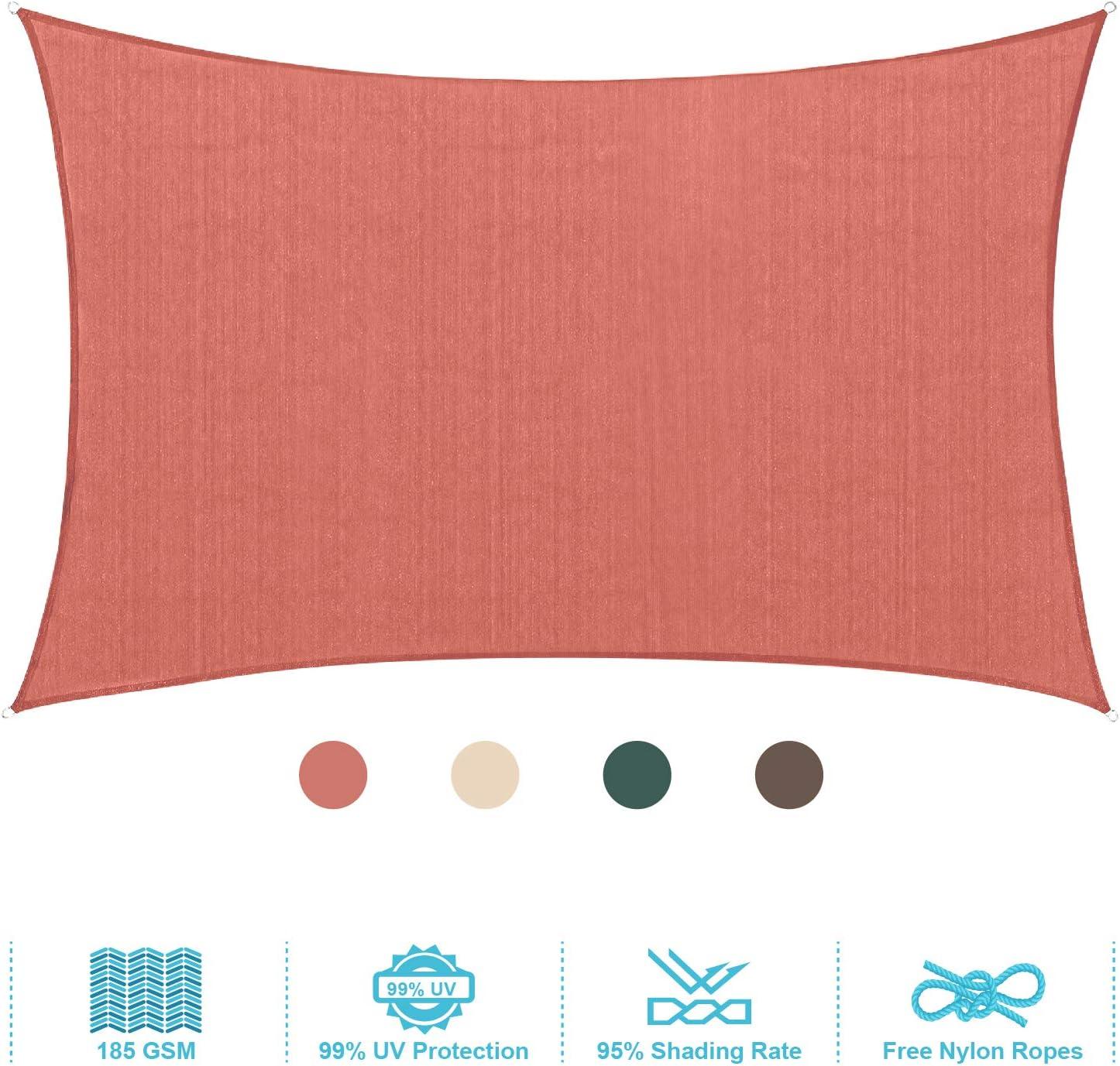 PHI VILLA Sun Shade Sail Rectangle 12'x16' Terra Cotta Patio Canopy Cover - UV Bloack - for Patio, Garden, Yard, Pergola