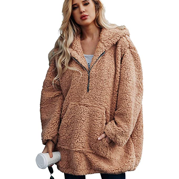 Clearance Womens Coat Cinsanong Winter Warm Hooded Sweatshirt Zipper Parka Artificial Wool Outerwear Clothes at Amazon Womens Clothing store: