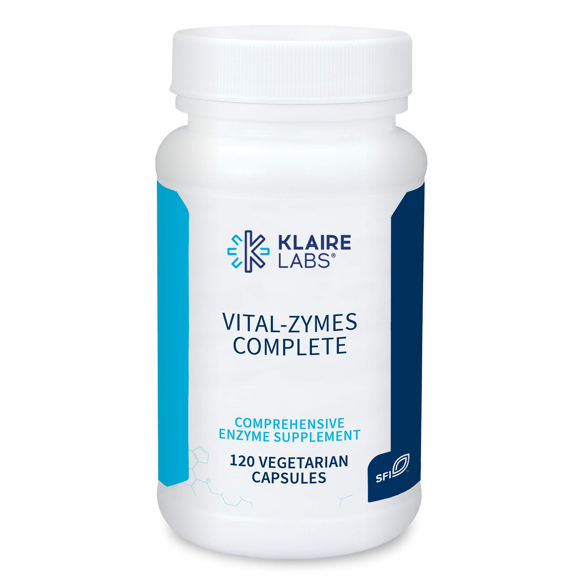 Klaire Labs Vital-Zymes Complete Digestive Enzymes - Helps Aid Digestion and Breakdown Proteins, Peptides, Carbs, Sugars, Fats & Fibers - 20 Active Enzymes (DPP-IV Activity) (120 Count)