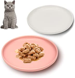 Petdoer Ceramic Cat Dishes, Whisker Fatigue Free Cat Food Bowl, Wide and Shallow Non Slip Pet Plate for Cat, Kitten, Short Legged Munchkin Cat (2 Pack - White & Pink)