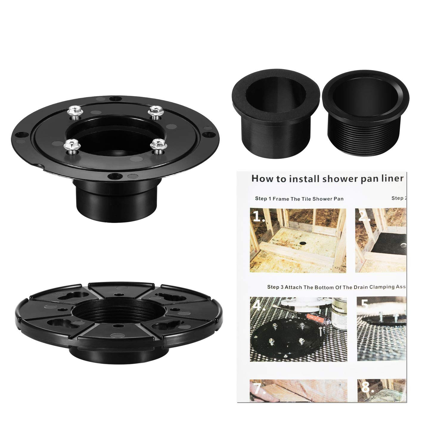 Jetec ABS Shower Drain Base Kit Include 2 Inches PVC Shower Drain Base Flange, Threaded Adjustable Adaptor and Rubber Coupler Gasket for Linear Shower Drain Installation by Jetec (Image #7)