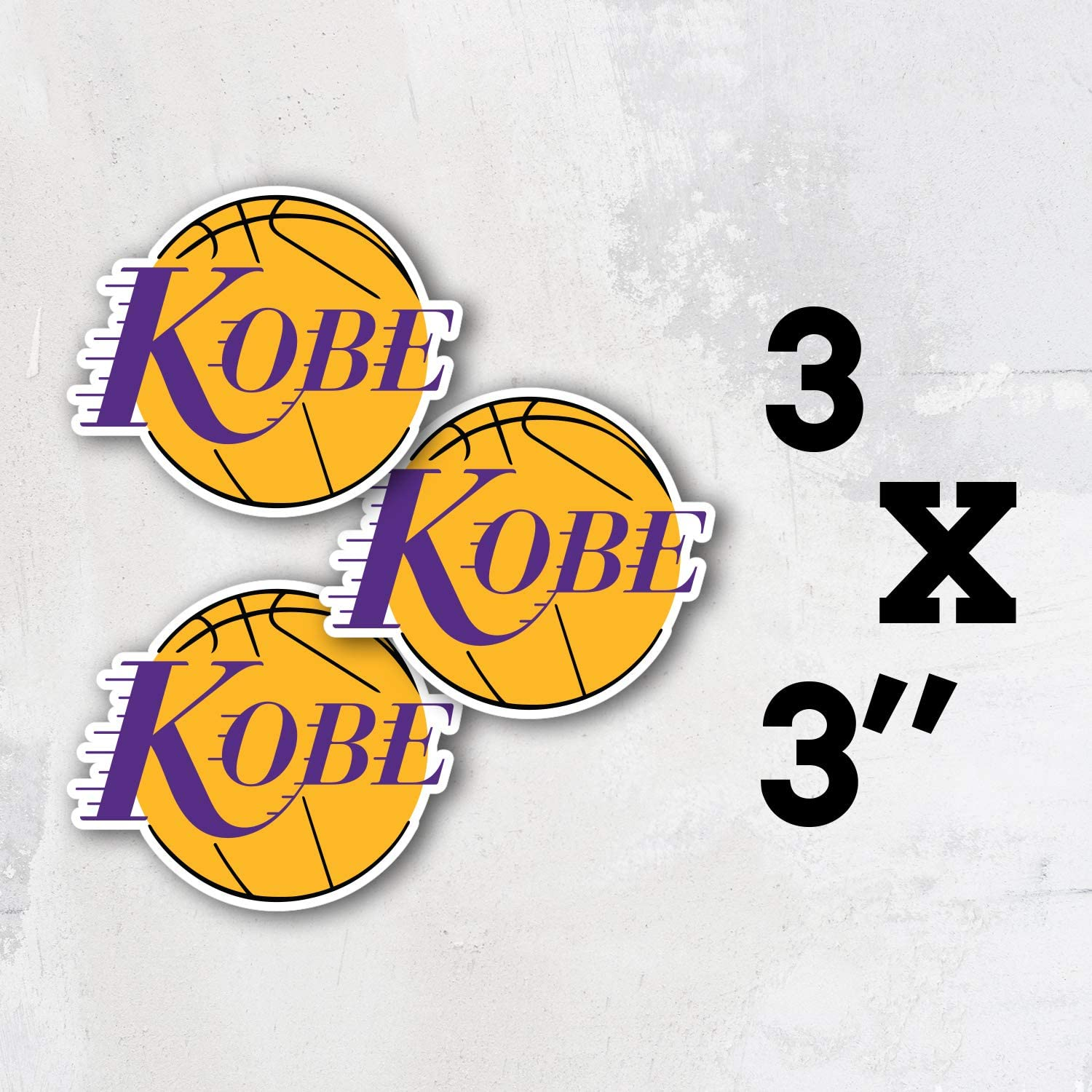 3 Longer Side Koby Bryant Logo Lakers Basketball Los Angeles Vinyl Sticker Art Decal Set of 3 Pieces