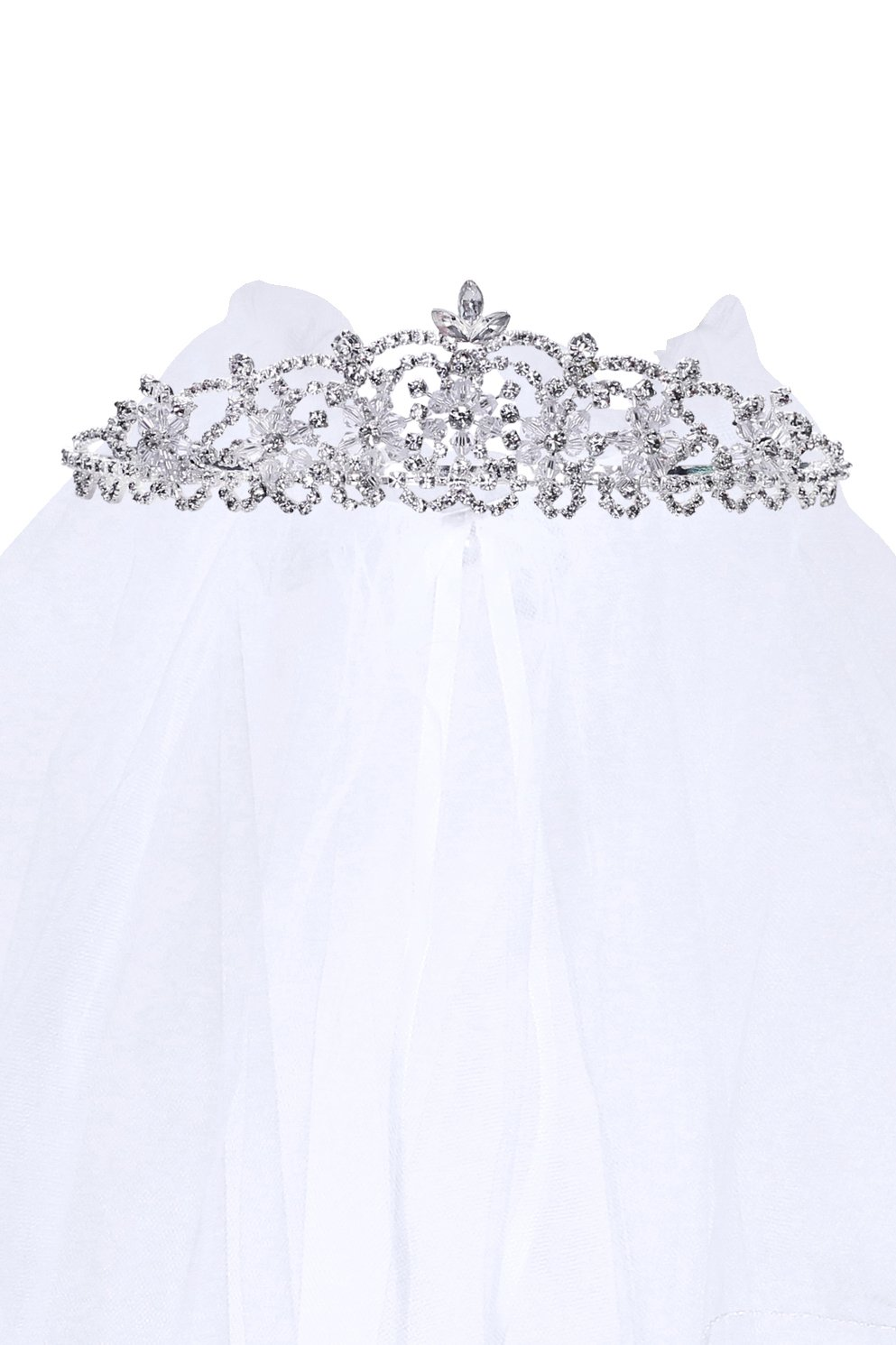 Kids Dream Precious First Communion Flower Girl Veil w/Elegant Crystal Stone Crown for Girls