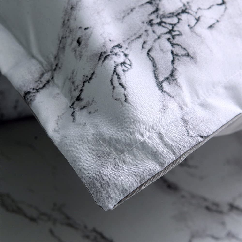 NTBED Marble Duvet Cover Sets Full Modern White Gray Quilt Cover with 2 Matching Pillowcases Grey Microfiber Printed Bedding Set