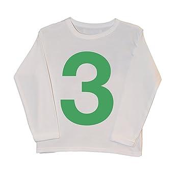 I Am 3 verde sobre blanco Cute tercer cumpleaños camiseta ...
