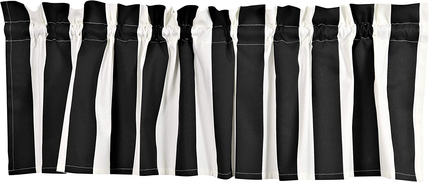 Crabtree Collection Curtain Valance for Windows Classic Black Striped (16 x 60) …