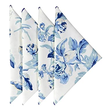 Cloth Napkins 18 Inches Linen Napkins Table Linens Cotton Fabric Set of 4 Blue Floral