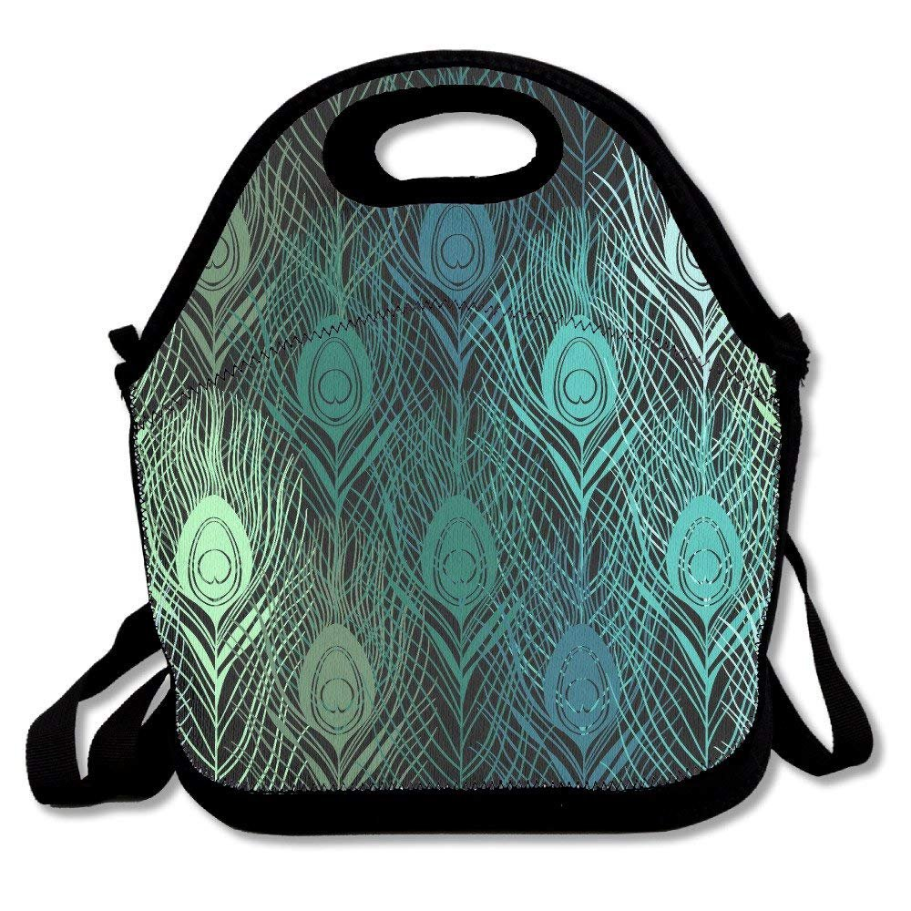 6b1d1e988356 Amazon.com: Green Peacock Feathers Extra Large Gourmet Lunch Tote ...