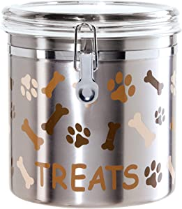 Oggi Airtight Stainless Steel 130-Ounce Pet Treat Canister with Treats, Paws and Bones Motif-Clear Acrylic Flip-Top Lid with Locking Clamp Closure