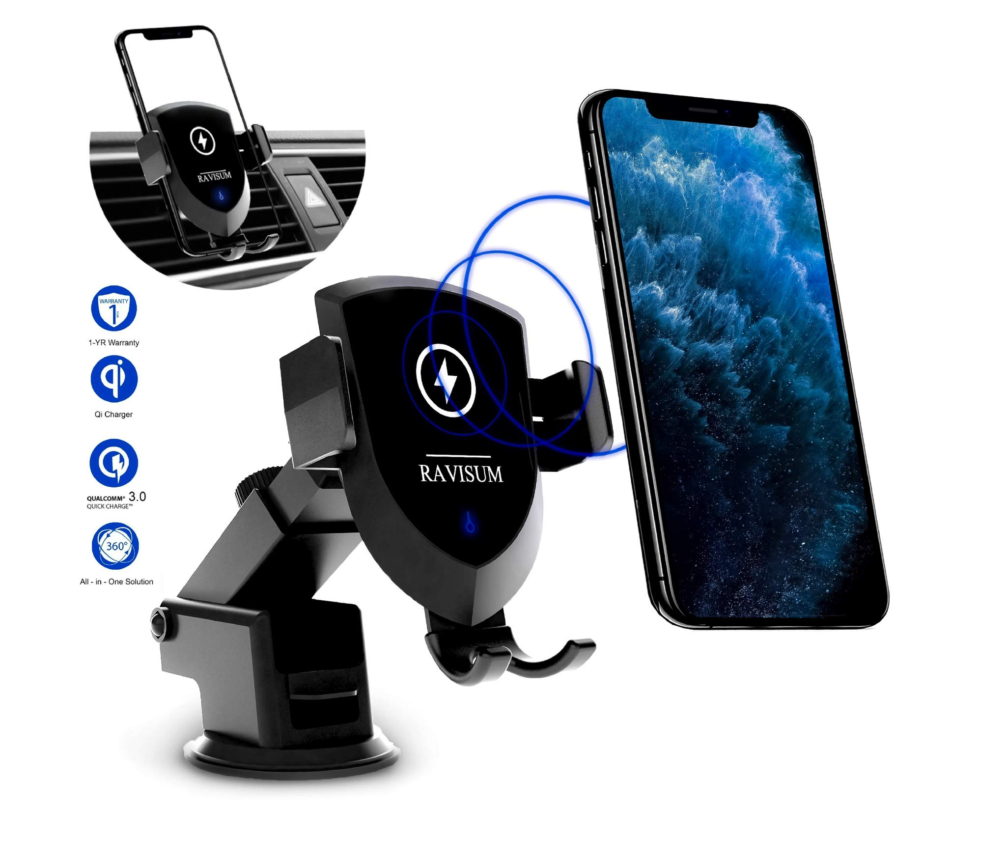 RAVISUM Luxury Wireless Car Charger Mount |10W 7.5W Fast Charge Car Mount with Dual USB Car Charger, Windshield & Air Vent Mount, Compatible with iPhone 11/11 Pro Max/X/8/8+ Samsung S8/S9/S10/Note10 by RAVISUM