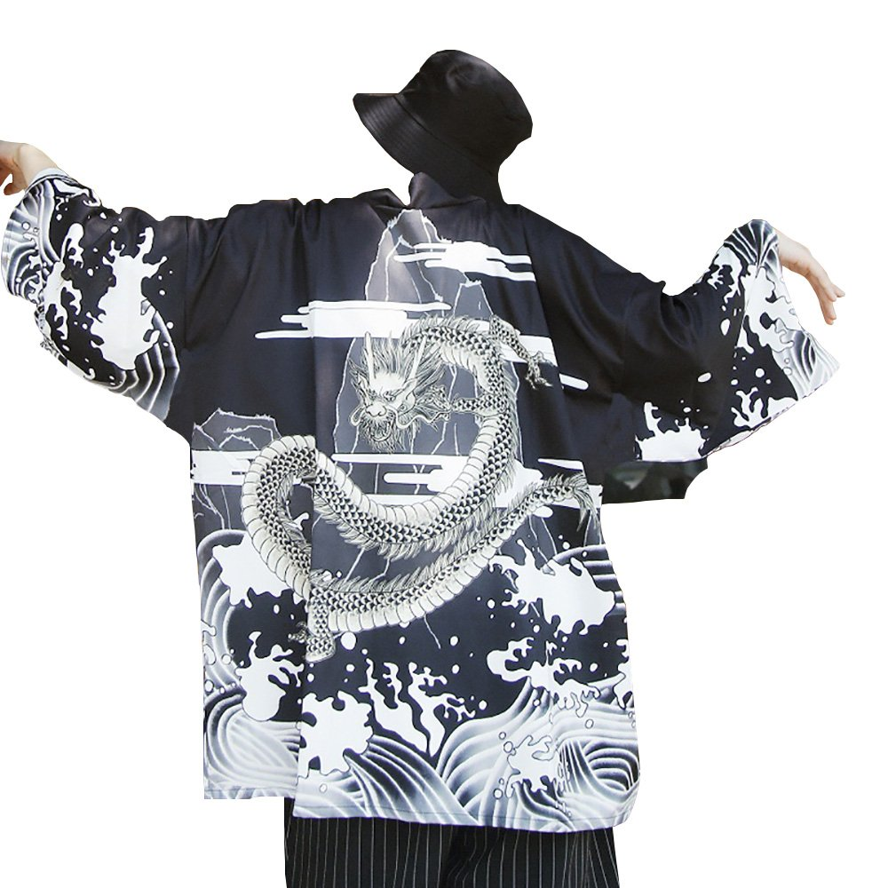 Men Japanese Yukata Coat Kimono Outwear Vintage Loose Top Dragon by Hao Run