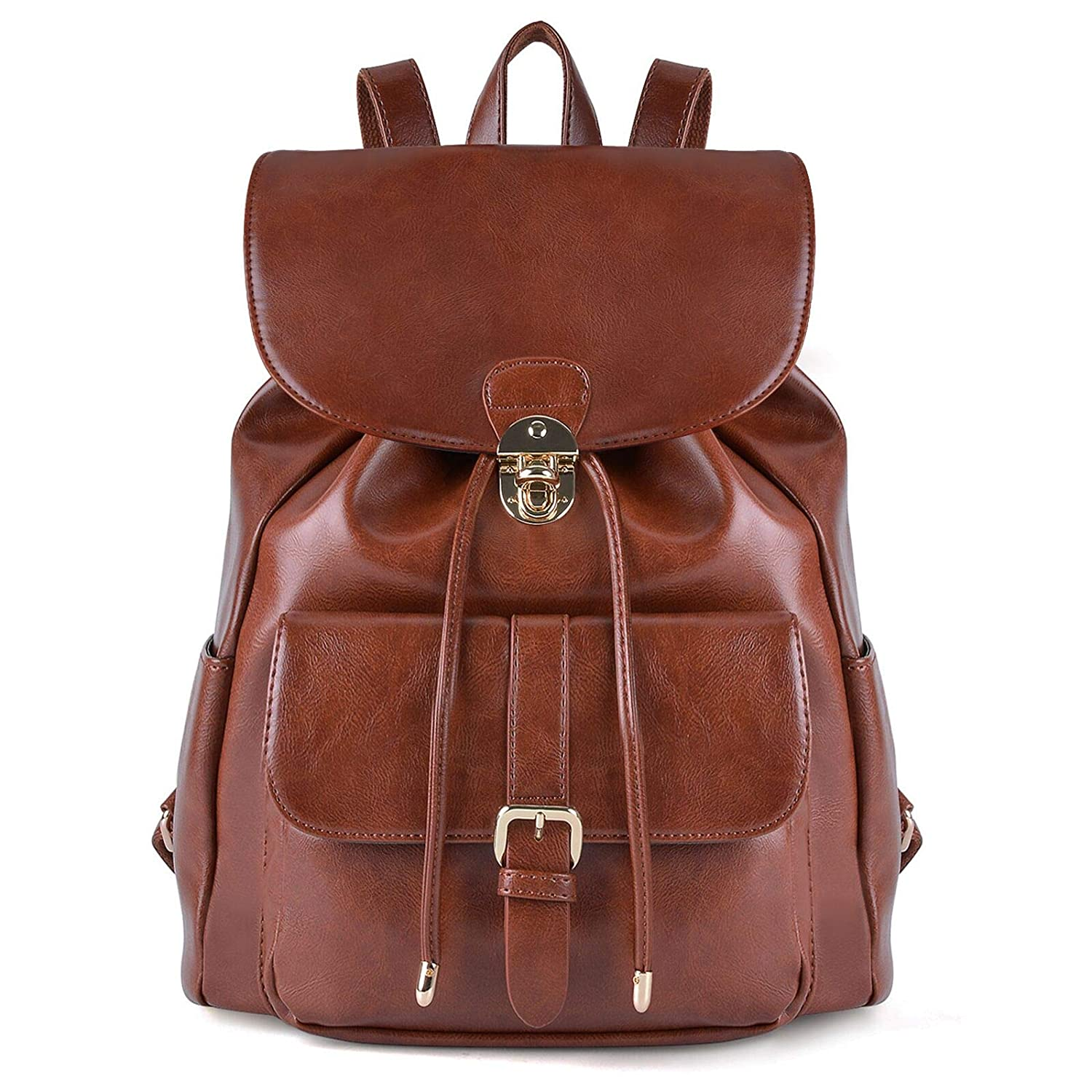 Backpack Womens, COOFIT Leather Backpack Women Ladies Rucksack Drawstring Backpack School Bags Vintage Backpacks for Women Girls