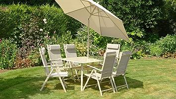 Beige 6 sillas para jardín o patio rectangular con 8 piezas ...