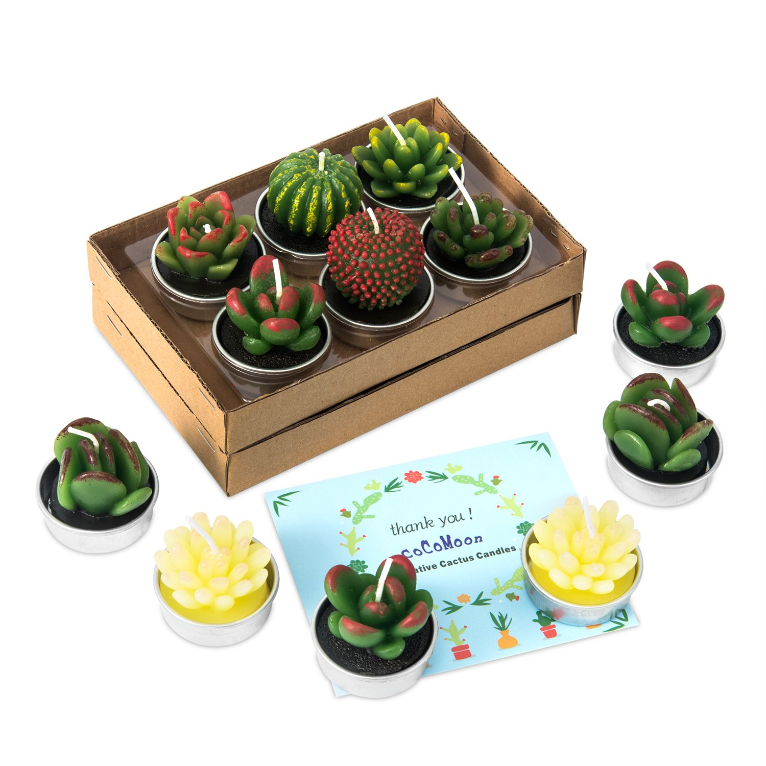 Glarks 12-Pieces Handmade Delicate Succulent Cactus Artificial Succulents Tealight Candles Perfect for Birthday Party Valentines Day Wedding Spa Home Decor and DIY Gift