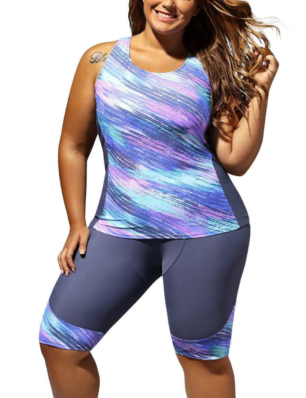 Gludear Womens Color Block Boyleg Plus Size Surf Swim Suit Rash Guard,Blue,5XL