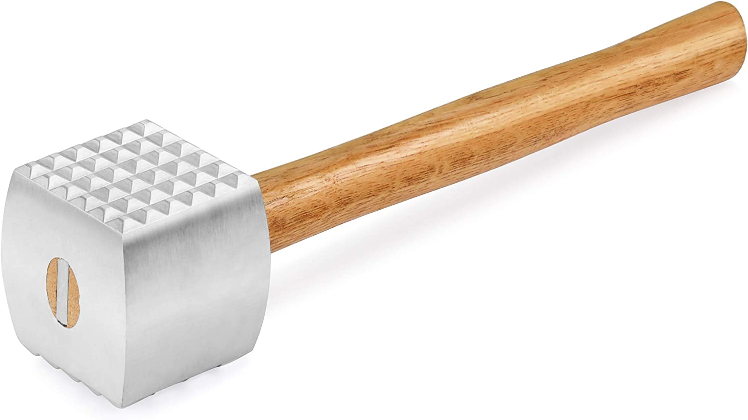 New Star Foodservice 36398 Wood Handle Aluminum Meat Tenderizer/Mallet/Hammer, 13-Inch Overall