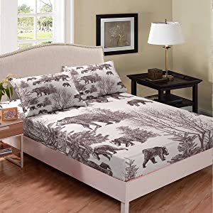Erosebridal Bear Bedding Set for Kids Boys Girls Teens Adults Queen Size Bears and Baby Tree Branches Fitted Sheet Trees Winter Scene Wildlife Animal Shadow Sheet Set Bed Décor Breathable Durable