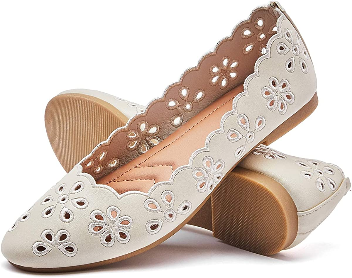 FRACORA Women's Ballet Flats Casual Breathable Leather Dress Walking Shoes Soft Slip ons Loafers