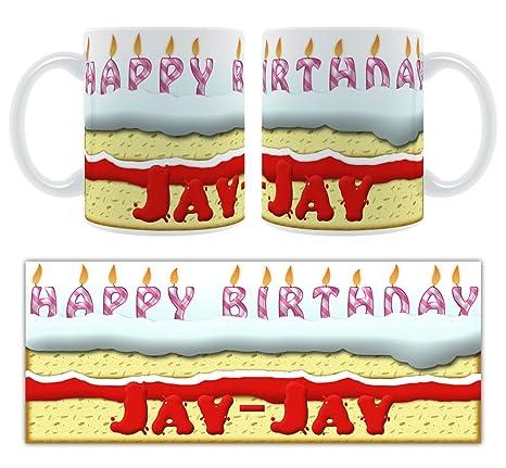 Feliz cumpleaños JAY-JAY – tarta de cumpleaños personalizada taza de cerámica