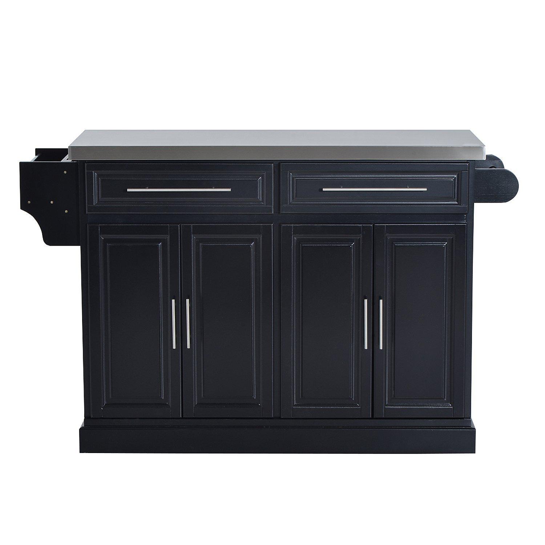 HomCom Modern Rolling Kitchen Island Storage Cart w/Stainless Steel Top - Black by HOMCOM (Image #4)