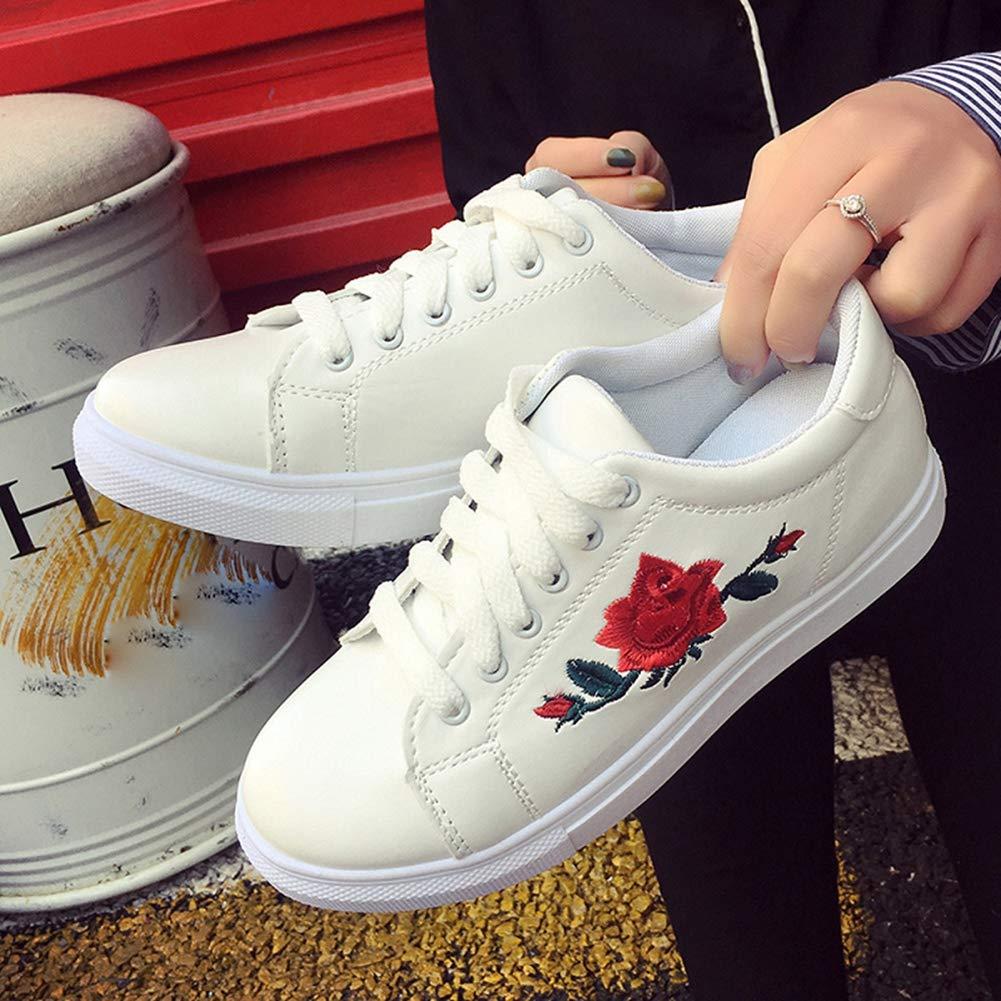 Las Mujeres de Moda Zapatos Casuales al Aire Libre con Cordones de Las Zapatillas de Deporte Superiores Bajas de Las Mujeres del Bordado de los Planos de Las Zapatillas de Deporte Blancas