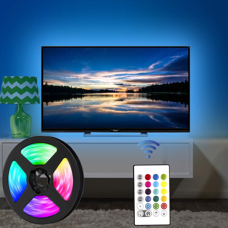 SRUIK 2M LED Strip USB RGB LED Fernseher Beleuchtung f/ür 32-60 Zoll TV Spiegel usw APP-Steuerung Sync mit Music LED TV Hintergrundbeleuchtung APP TV-Bildschirm Bias Lighting LED Streifen f/ür PC