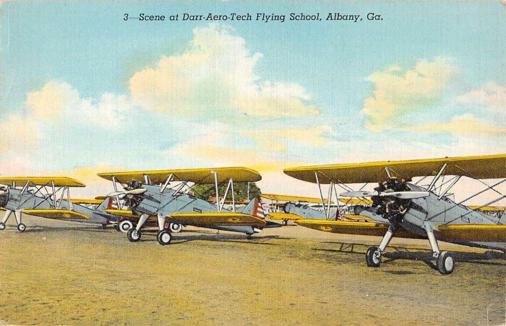Albany Georgia Darr Aero Tech Flying School Antique Postcard K54503