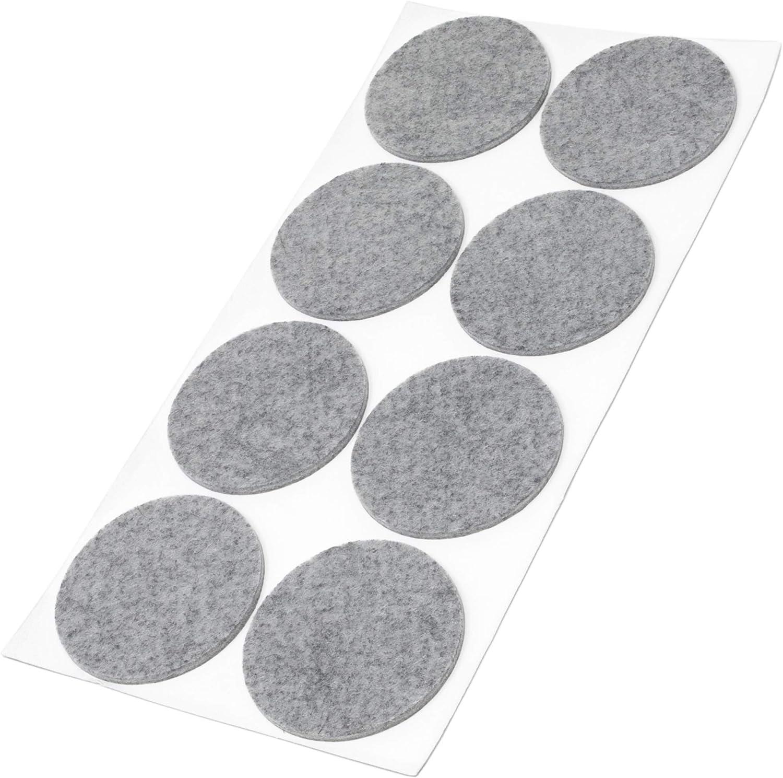 Grau rund 3.5 mm starke selbstklebende Filz-M/öbelgleiter in Top-Qualit/ät /Ø 60 mm Adsamm/® 8 x Filzgleiter